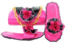 2019 b robes sac à main Beau talon fuchsia 0.5CM sandales avec décoration florale chaussures africaines correspondent sac à main pour robe MM1053 promotion b robes sac à main