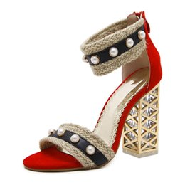 Wholesale Pearl Covered Shoes - wholesale New Design Straw women sandals thick crystal heel party shoes woman high heels fashion Pearl sandals red white shoes