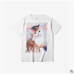 cb44c885e desenhos animados de pintura de camisa Desconto 2018 Novo Gato Bonito  Tshirt Pintura A Óleo Dos