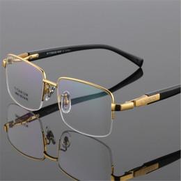 Очки для деловых мужчин онлайн-EYELOOK New  Men Titanium Half Rim Optical Glasses Spectacle Business Gold Silver Frame Myopia Eyeglasses LB9910