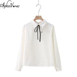 Wholesale blusas moda - Blusas Mujer De Moda 2018 Solid Color Preppy Style Corduroy Tops White Turn Down Collar Shirts Bow Female Blouse