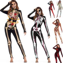 2019 costumi indiani americani Adulto Scheletro Halloween Nero 3D Teschi Rose Pagliaccetti Womens Tuta Tight Cos Costume DK0554BK