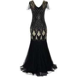 2019 платье для шее Women 1920s Great Gatsby Dress Long 20s Flapper Dress Vintage V Neck Short Sleeve Maxi Party for Prom Cocktail дешево платье для шее