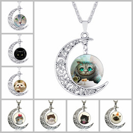 Wholesale Gold Necklace Patterns Women - Lovely Cat Pattern Time Gemstone Chokers 4*3.5cm Hollow Moon Pendants Designer Women Men Necklaces Jewelry as Gifts