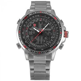 2019 акулы спортивные часы цифровые Winghead SHARK Sport Watch  Silver LCD Analog Date Alarm Stainless Steel Quartz Running Clock Men Digital Watch / SH325N дешево акулы спортивные часы цифровые