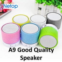Wholesale memory card mini player - Netop Portable Wireless Bluetooth Speaker LED light Mini Speaker A9 Support Radio FM Memory TF Card Handfree Calling Free DHL