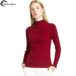 Wholesale womens black turtleneck sweater - Wholesale-Moda Jihan Women Rib Sweater Stretchy Knitted Pullover Female Winter Turtleneck Womens Wave Collar Jumpers Pull Femme Fall Tops
