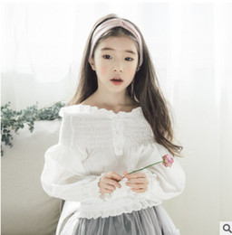 Wholesale Bat Sleeve Girls Shirt - 2018 Spring new children blouses girls ruffle dew shoulder white princess tops kids bat sleeve elastic collect waist shirts R2867