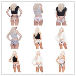 Wholesale Sexy Novelty Underwear - Women Funny Animals Ears Underwear Kawaii Pig Dog Kitty 3D Printing Briefs Sexy Panties Woman Underwear 12 Styles Free shipping