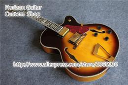 hohlkörpergitarre l5 Rabatt China Musikinstrument-L5 E-Gitarren-Jazz-hohler Archtop-Körper F locht Weinlese-Sonnendurchbruch auf Lager für Verkauf