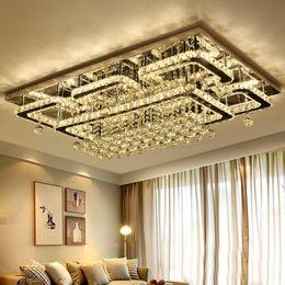 Lampadari quadrati online-Plafoniera moderna di lusso a LED in cristallo Lampada da soffitto quadrata K9 Lampadari a soffitto in cristallo per soggiorno Lampade da ristorante ristorante