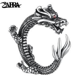 2019 sterling silber 925 drachenringe ZABRA Vintage Dragon Ring Einstellbar 925 Sterling Silber Ringe Für Männer Rot Zirkon Augen Puck Rock Biker Schmuck günstig sterling silber 925 drachenringe