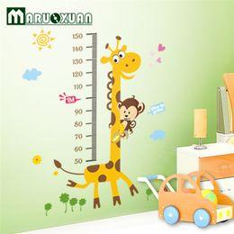 Wholesale Wall Paper Stickers Children Animals - Animal Cartoon Giraffe Monkey Children Height Measuring Vinyl Wall Stickers For Kids Rooms Home Decor Living Sofa Wall Sticker