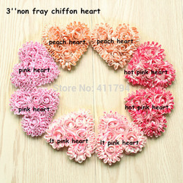 Wholesale Shabby Flowers For Headbands - 60 pcs  lot ,3'' shabby flowers heart sweet chiffon heart , headband for valentines day