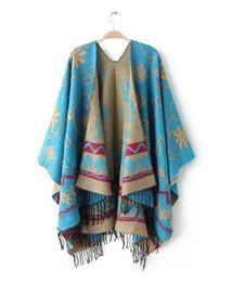 Wholesale Womens Shawl Coat - Brand Fashion Womens Autumn Winter Warm Flower Pattern Slit Wool Blend Plaid Blanket Cloak Poncho Cape Coat Tassel Shawls Scarf
