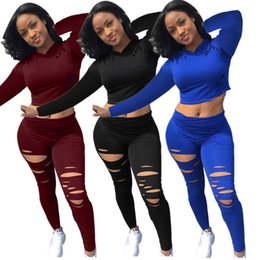 cropped blue leggings Coupons - designer ripped crop top women two piece set hoodie print letter sweatshirt leggings tracksuit pullover tops tights outfits 9741