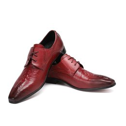 Wholesale Men Wine Dressing Wedding - Fashion Genuine Leather Mens Dress Shoes Wine Red Business Male Shoes Men Pointed Toe Lace-up Wine Red Wedding Shoes