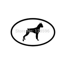 Wholesale Euro Stickers - HotMeiNi Wholesale Boxer Car Window Sticker White Oval Dog Puppy Euro Decal