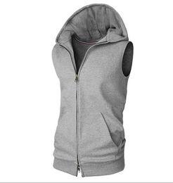 Sans manches Mens À Capuche Porter Manteau Unique Gilet Moins Cher Cardigan Sport Sweatershirt Tops Couleur Unie Vêtements En Gros M-XXL ? partir de fabricateur