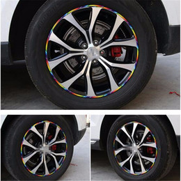 Wholesale Car Windshield Vinyl Roll - car styling 8M Roll Car Styling Wheel Rim Protection Sticker Electroplating Decorative Stickers Rim Accessories Wheel Hub Protective Tape