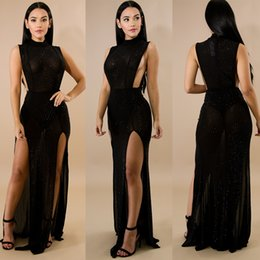 Wholesale Maxi Dress Nightclub - Europe and the United States sexy perspective zipper jumpsuit fashion women's long dresses party dress sexy nightclub dresses skirt