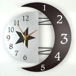 Canada Salon moderne décoratif créatif horloge murale style StarMoon en bois densité panneau horloge murale scan deuxième mouvement S cheap antique clock movements Offre