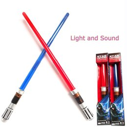 Wholesale Wholesale Led Swords - Flashing Sword Toys With Sound and Led Light Red Blue Stable Color Light Up Sword Children Toy Lightsaber