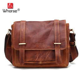 Wholesale Vintage Leather Satchels For Men - Brand Vintage Style Crazy Horse Leather Messenger Bag Men Cowhide Business Briefcase Satchel Shoulder Crossbody Bags For Man WB3500