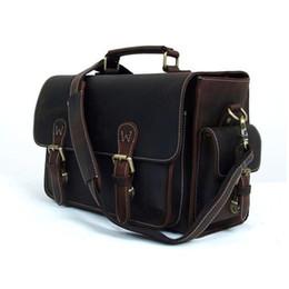Wholesale Dslr Leather - ROCKCOW Genuine Leather DSLR Camera Bag Leather Briefcase DSLR Messenger Bag 6919