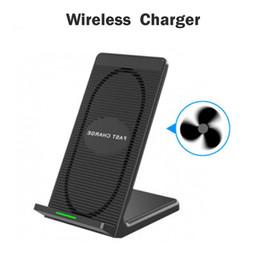 Geniales cargadores de iphone online-Cargador inalámbrico rápido 2 bobinas 10W Qi Soporte de almohadilla de carga inalámbrica Ventilador de enfriamiento incorporado para iPhone X / 8/8 Plus Samsung Galaxy s8