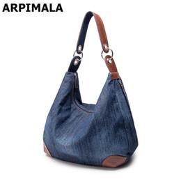 Wholesale Jean Shoulder Bags - ARPIMALA 2017 Large Luxury Handbags Women Bag Designer Ladies Hand bags Big Purses Jean Denim Tote Crossbody Women shoulder Bags