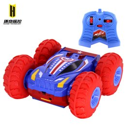 Wholesale Remote Control Stunt Car - Free Shipping Roll Over Toy Cars Remote Control Car Inflatable Double Suv 4wd Electric Toy Stable Rc Car Jumping Tumbling Stunt