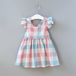 Wholesale Backless Knee Length Dresses - Baby lattice dress fly sleeve Plaid Princess dresses 2018 new summer fashion Kids Clothing Boutique Backless girls dress C3474