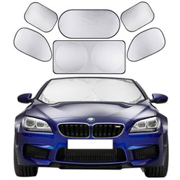 car window shading Promo Codes - 6pcs set Car Sun Shade Screen Full Car Front Side Rear Window Sunshade Curtain Windshield Shades Visor Cover Sun Block