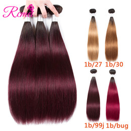 indain human hair Coupons - Rcmei Ombre Indain Straight Hair Bundles Ombre Human Hair 1b 27 1b 30 1b 99j 1b burgundy Hair Weave 3 Bundles 10-26inch