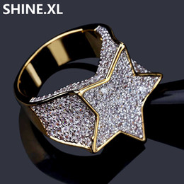 Wholesale ring stone for male - Hip Hop New Custom Star Gold Color Plated Ring All Iced Out CZ Stone Rings for Women & Male Bling Party Jewelry