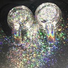 caixa holo Desconto Novo Prego Glitters Galáxia Holo Flocos de 0.2g / caixa Laser Bling Rainbow Flecks Cromo Efeito Mágico Irregular Nail Art Pó 2017