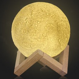 Recarregável 3D Impressão Moon Lamp 2 Mudança de Cor Interruptor de Toque Quarto Estante de Luz Da Noite Home Decor Presente Criativo de Fornecedores de bolas de gel de água por atacado