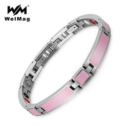 WelMag Nouveaux Bracelets En Acier Inoxydable Pour Femmes Magnétique Sapin Guérison Hologramme Bracelet Bracelet 3 Fermoirs Femme Dropshipping 2018 ? partir de fabricateur