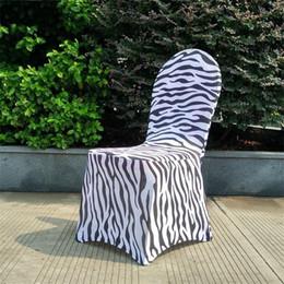 2019 modèle de couverture de siège de chaise Imprimé Spandex Chaise Bande Résistant à L'usure Zebra Stripe Motif Couverture De Siège Pratique Élastique Chaises Couvre Pour Mariage Banquet 16 5dm BB promotion modèle de couverture de siège de chaise