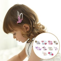 Wholesale heart hair bows - Baby Glittering hairpin 3D flower heart star Clips Girls pair Barrette Kids Hair Boutique Bows Children Hair Accessories KFJ204
