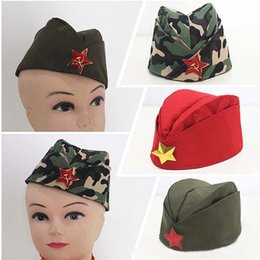 Wholesale red berets - Russian Army Cap Tricorne Green Camo Badge Women Sailor Military Stage Performance Pentagram five star Chinese Boat Dance Hats