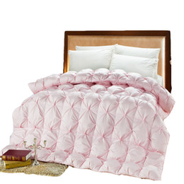 Wholesale Super King Size Bedding - Double Bed Goose Down Comforter Pink White Duck Feather Thick Quilt UK Super King Size Thick Warm Duvet Comforter For Winter