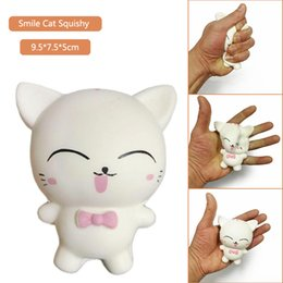 Wholesale home bread - Smile Cat Squishy Toy Squeeze Slow Rising Bread Cake Kawaii White Cat Decompression Toys Home Decor Kids Gift Toys