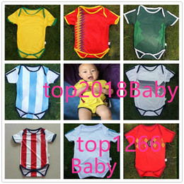 Wholesale grey baby jumpsuit - 2018 World Cup Spain 6-18 month home Baby soccer jersey new Belgium soccer Argentina Jersey Sleeved Jumpsuit Bebé Triangle Climb Clothes 8AA