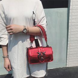 Wholesale Fire Plains - Ins super fire swallow 2018 new Korean women's bag chain bag shoulder diagonal bag patent jelly