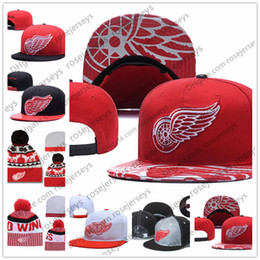 e259eb6400fb6 Detroit Red Wings Ice Hockey Knit Beanies Embroidery Adjustable Hat  Embroidered Snapback Caps Black Red White Stitched Hats One Size