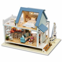 Wholesale Doll Furniture Craft - Wholesale-Diy Miniature Wooden Doll House Furniture Kits Toys Handmade Craft Miniature Model Kit DollHouse Toys Gift For ChildrenA037