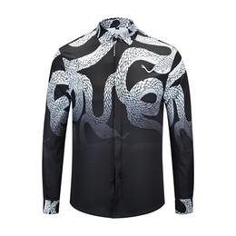 True Reveler Brand clothing Python camisas hombres de manga larga boa negro blusa diseñador tapas de serpiente tops de negocios desde fabricantes