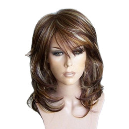 Mélange de perruque en Ligne-Lady Long Curly Fashion Bronw Blend Perruque Ondulée Layered Heat OK Cosplay Party